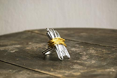 Silver and gold wrapped Ring For Women, Statement Ring, Geometric Ring, Adjustable Wrap Ring.
