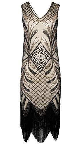 Ro Rox Pola 1920 Glamorosa Great Gatsby Party Flapper Vestido de Lentejuelas con Flecos - Beige (XL)