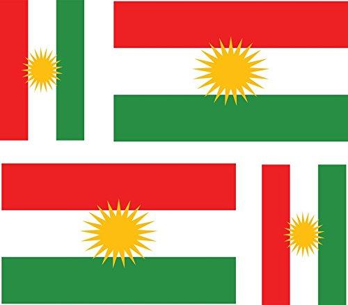Akachafactory 4x selbstklebend Sticker Auto Moto Koffer Laptop Flagge Kurdistan Kurdische