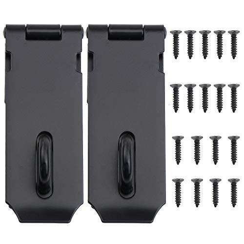 WiMas - Candado de acero inoxidable de 4 pulgadas, perno de puerta de seguridad resistente, cierre de candado de acabado cepillado para puerta de gabinete de jardín, 2 unidades (negro)