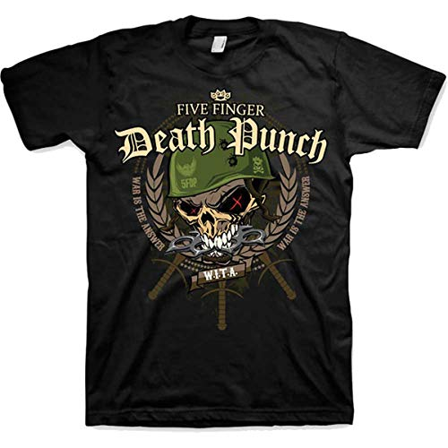 Five Finger Death Punch War Head Camiseta, Negro (Black Black), Large para Hombre