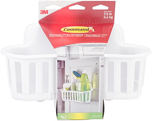 Command Under Sink Cabinet Caddy, 1 caddy, 4 strips, Holds 7.5 lbs, White (17604-HWES)