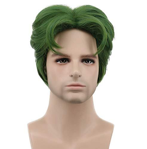 Karlery - Peluca corta rizada para disfraz de Halloween, color verde oscuro, 12,7 cm