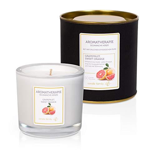 Candle Family Aromatherapie Sojawachs Kerzen | Grapefruit & Süße Orange | Kerze im Glas mit intensiven entspannenden Duft | 30 Stunden Brenndauer