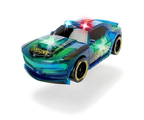 Dickie Toys 203763001 Lightstreak Police, leuchtendes Polizeiauto, Rennauto mit Friktionsantrieb, Licht & Soundwechsel, Polizeiwagen, inkl. Batterien, 20 cm, blau