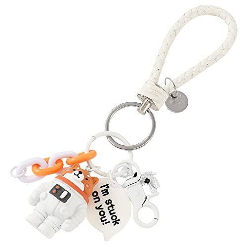 宇宙飛行士 キーホルダー アニマル おしゃれ かわいい バッグチャーム キーリング メンズ レディース キッズ プレゼント (白いぬ)