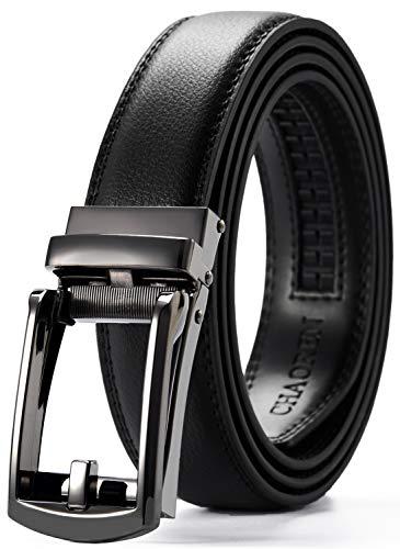 Leather Ratchet Belt 1 1/4' Comfort with Click Buckle, CHAOREN Dress Belt Adjustable Trim to Exact fit (Click Belts For Men)