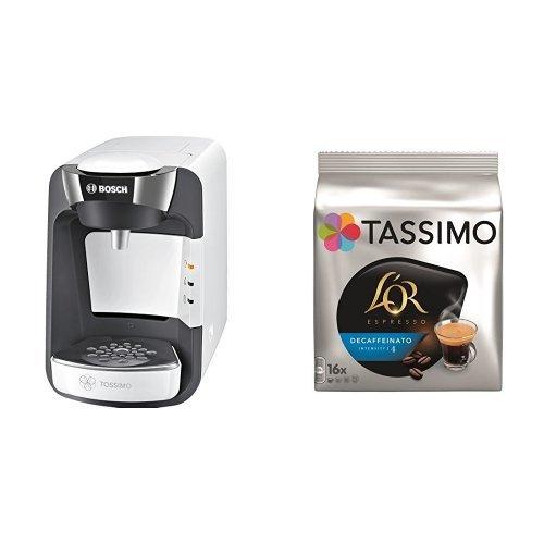 Bosch TAS3204 Tassimo Suny (color blanco) + Pack café 5 paquetes Tassimo Decaffeinato