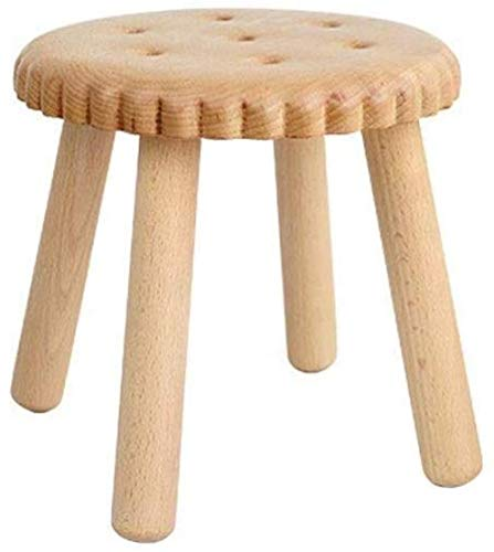 A/N Foot Rest Stool Wooden Footstool- Shoe Bench Children S Small Bench Solid Wood Creative Biscuit Stool Cartoon Round Stoo-Beech