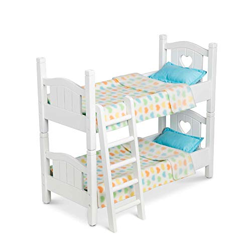 Melissa & Doug Mine to Love Wooden Play Bunk Bed for Dolls, Stuffed Animals - White (2 Beds, Assembled and Stacked)