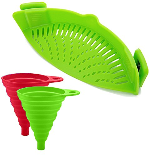 Silicone Snap Strainer with 2 Collapsible Funnels,Colander & Drainer Compact & Flexible BPA Free universal Fits All Pots, Pans & Bowls (Green)