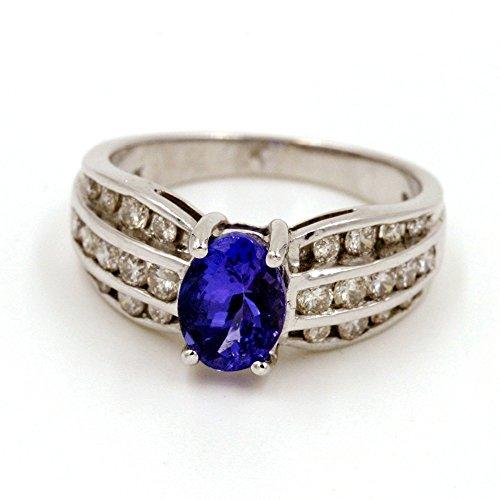 Forma ovalada 12/3CT. Tanzanita Y 2/3CT. Diamante Anillo de moda en 14K oro blanco