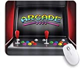 Gaming Mouse pad Custom,Video Games Arcade Machine Retro Gaming Fun Joystick Buttons Vintage 80's 90's Electronic,Office Personalized Design Non-Slip Rubber Mousepad 9.5 X 7.9 Inch