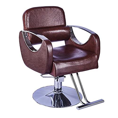 FLAMY Silla de peluquería, silla de peluquería Sillón, reclinable, altura ajustable, silla hidráulica de cuero de la PU giratoria de 360° para el salón de pelo, negro/gris/azul/verde/rojo