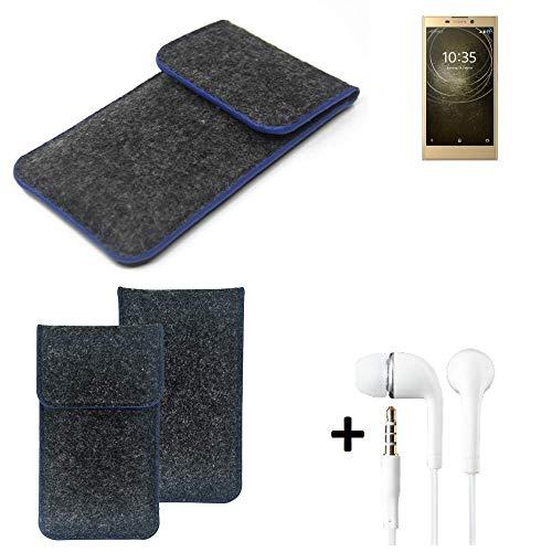 K-S-Trade Filz Schutz Hülle Für Sony Xperia L2 Dual-SIM Schutzhülle Filztasche Pouch Tasche Handyhülle Filzhülle Dunkelgrau, Blauer Rand Rand + Kopfhörer