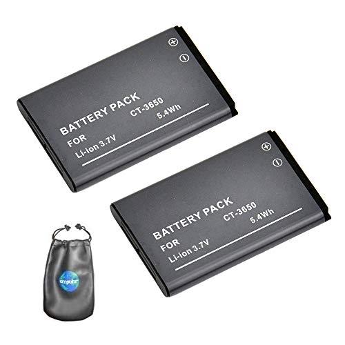 Amsahr Digital-Ersatz-Kamera und Camcorder-Akku für Contour CT-3650, HD2350, HD2450 Pack-2 - Inklusive Objektiv Zubehör Pouch