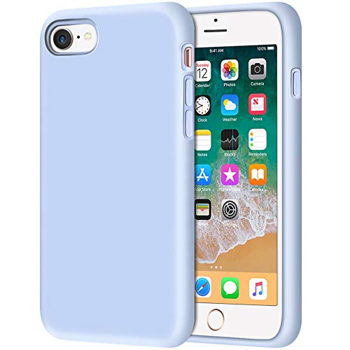 Anuck iPhone SE 2020 Case, iPhone 8 Case, Non-slip Liquid Silicone Gel Rubber Bumper Case Soft Microfiber Lining Hard Shell Shockproof Full-body Protective Case Cover for iPhone 7/8/SE 4.7' Light Blue
