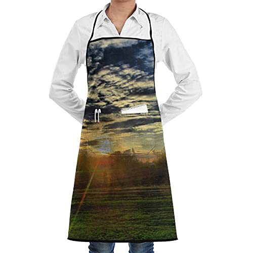 N\A Delantal con Peto de Chef de Cocina Sky Cloud Sunrise Cuello Cintura TES Decir, Bolsillo Canguro Central Impermeable