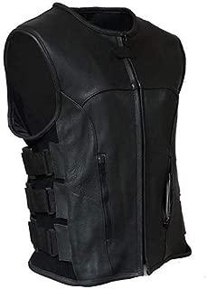 The Nekid Cow Men's Updated SWAT Team Leather Motorcycle Vest Soft Buffalo Leather - Tactical Outlaw Black Biker Vests for Men - Law Enforcement Style Protective Side Adjustment (S)