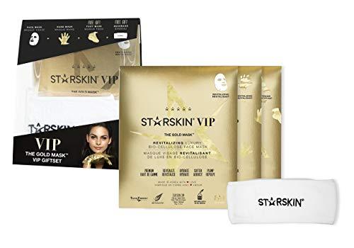 STARSKIN The Gold Mask™ Collection Lot de 4 masques dorés + masque pour les mains + masque de pied + bandeau en éponge