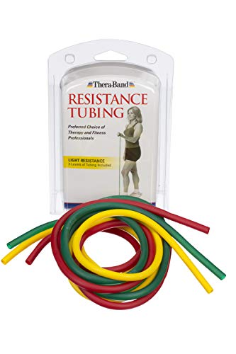 TheraBand Resistance Tubes, Professional Latex Elastic Tubing, Upper & Lower Body, Core Exercise, Physical Therapy, Lower Pilates, At-Home Workouts, & Rehab, 5 Foot, Yellow, Red, & Green, Beginner Set