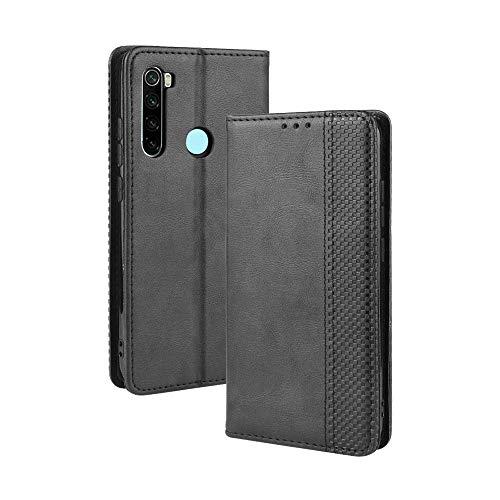 HAOYE Hülle für Xiaomi Redmi Note 8T, Retro Premium PU Leder Flip Schutzhülle, Leder Klapphülle Slim Lederhülle mit Standfunktion und Kartenfach TPU Innenraum Hülle Handyhülle, Schwarz