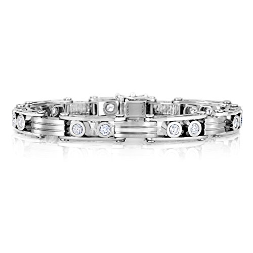 Unique Royal Jewelry 14k White Gold Men's Diamond Link Bracelet Rolex Style, 2.64 CTW F-G VS Diamonds, 9 mm Wide, 8.5 in.