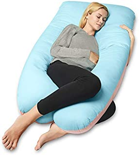 QUEEN ROSE Full Body Pregnancy Pillow,U-shaped Maternity Pillow for Sleeping,w/Removable Cotton Cover,Blue&Pink