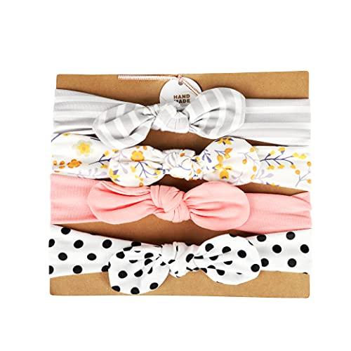 4 Piezas turbante bebe niña algodón, turbante lazo niña (Set 1)