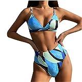 YANFANG Conjuntos Bikinis,Fashionista Lady Sexy sólido con Almohadilla para el Pecho Conjunto Traje de baño de Dos Piezas,Tops de Bikini Tanga Suave Acolchado Tops y Braguitas Bañador Brasileño