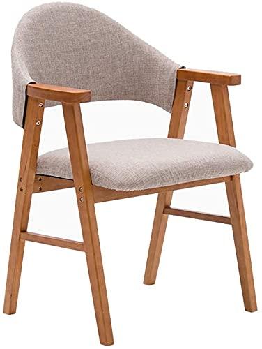 FMOGE Chaises minimalistes Modernes Chaise à Manger en Bois Massif Hippo Heavy Back Support et accoudoirs de Meubles de Meubles Chaises de réception Occasionnels - Coussin de Jute