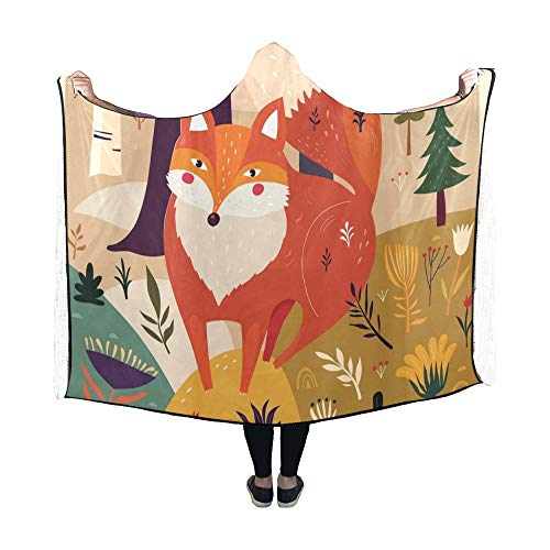 JOCHUAN Couverture à Capuche Cute Fox Forest Blanket 60x50 Pouces Wrap à Capuche Comfotable