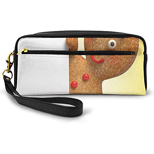 Gingerbread Man Figure Holding A White Page Funny Xmas Character Print Small Makeup Bag with Zipper Pencil Case 20cm * 5.5cm * 8.5cm