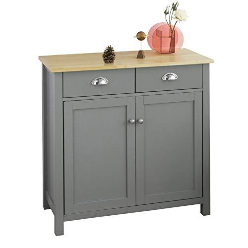 *SoBuy FSB25-HG Sideboard mit 2 Schubladen und 2 Türen Kommode Küchenschrank mit Arbeitsplatte Flurschrank Beistellschrank grau BHT ca.: 80x81x36cm*