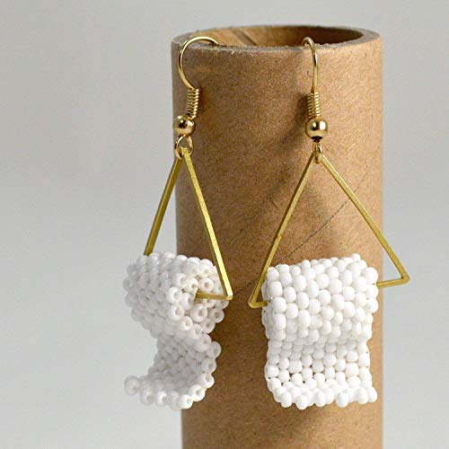 Funny Gift for Her Toilet Paper Earrings Handmade Beaded White and Gold Tone Pair