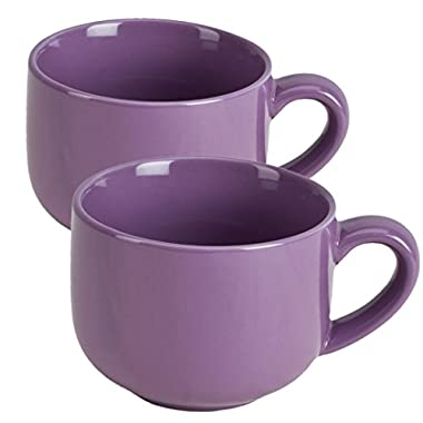 24 ounce Extra Large Latte Coffee Mug Cup or Soup Bowl with Handle - Purple Violet (Set of 2)