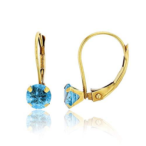 10K Yellow Gold 6mm Round Swiss Blue Topaz Martini Leverback Earring