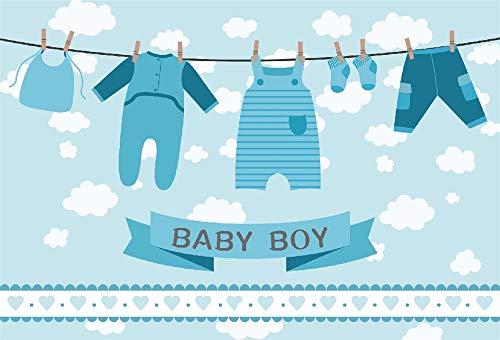 YongFoto 1,5x1m Fondo de Fotografia Backdrop Baby Shower Boy Mono Calcetines Pantalones Servilleta en tendedero Fondo Nubes Blancas Telón de Fondo Photo Booth Party Banner Niños Photo Studio Atrezzo
