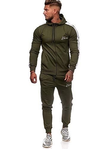 Koburas Herren Jogginganzug Trainingsanzug Sportanzug Jogginghose Hoodie-Sporthose Jogger Modell 3392 Oliv S