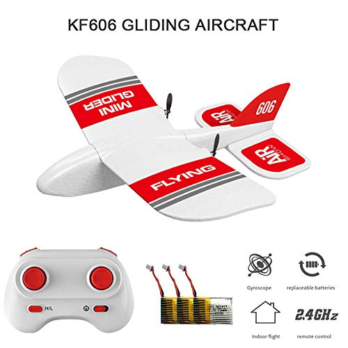 MOSTOP KF606 2.4GHz RC Airplane Flying Aircraft EPP RC Glider Airplane Indoor Toy 15 Minutes Flight Time Built-in Gyro RTF Foam Airplane for Child Kids Gift (KF606+3 Battery)
