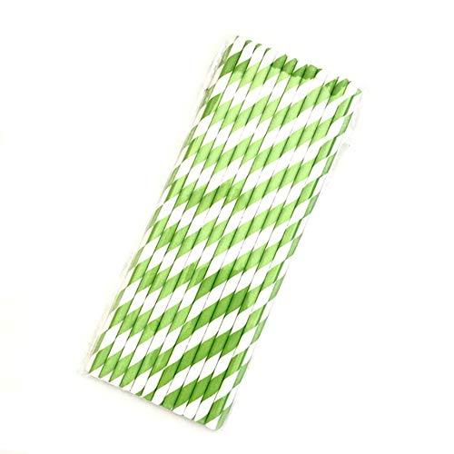 Panamami Papierstrohhalme, gestreift, für Weihnachten, Party, Hochzeit, Weihnachten, Kinder, Dekoration, Papier, Strohhalme, Grün
