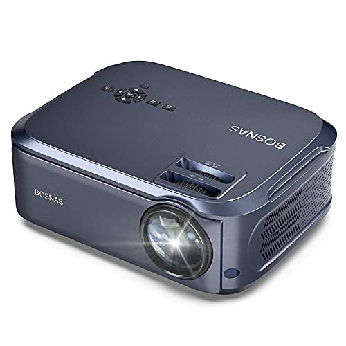 Beamer, BOSNAS Beamer Full HD Native 1080p LED Beamer Heimkino 6800 lux Video-Beamer Unterstützt TV Stick, dual HDMI, Xbox, Laptop, Smartphone Projektor