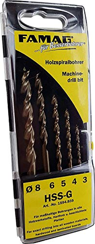 Famag 1594835 Twist Drill Bit Set 5 Pieces (Diameter 3-8, HSS-G, for all Wood Materials with Plastic Casette) Grey Set of 5 Diameter 3,4,5,6,8 mm