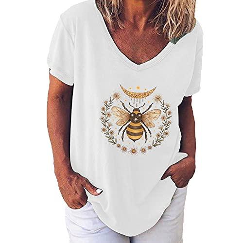 Camiseta básica de cuello en V, con estampado de abejas, para mujer, adolescente, niña, elegante, verano, manga corta, jersey deportivo, para mujer, fitness, blusa básica Blanco XL