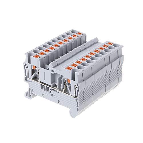 FangWWW 10 Stück/Set PT 2.5 Push In DIN-Schiene montierte Klemmenblöcke Feder schraubenlose Einspeisung durch elektrische Komponenten und Teile