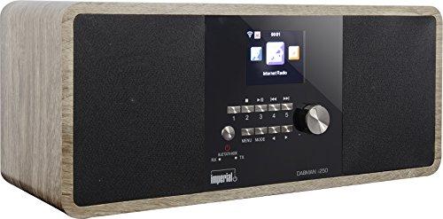 Imperial Dabman i250 Internet-/DAB+ radio (stereogeluid, bluetooth, internet/DAB+/DAB/FW, WLAN, LAN, USB, AUX-in, line-out, hoofdtelefoonuitgang, incl. adapter). Vintage zwart
