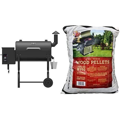 Z GRILLS ZPG-550B 2020 Upgrade Wood Pellet Grill & Smoker Auto Temperature Control, 550 sq in Black & Z GRILLS 100% All-Natural No Blending American Oak Hard Wood Pellet 20 Lb
