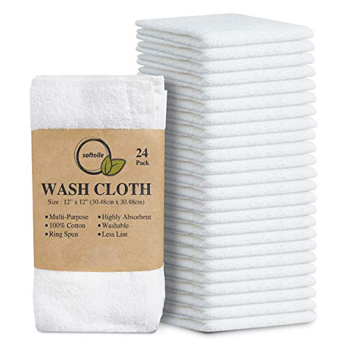 Softolle 100% Cotton Ring Spun Wash Cloths – Bulk Pack of 24 Pieces Washcloths – 12x12 Inches – Wash Cloth for Face, Highly Absorbent, Soft and Face Towels (White)