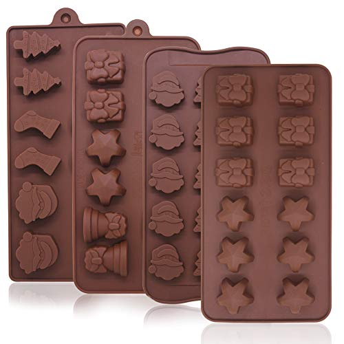 4 Pack Chocolate Candy Molds Trays,Sonku Silicone Baking Jelly Molds with Shapes of Star,Gift Box,Christmas Tree,Santa Head,Candy Cane,Bell-4 Types