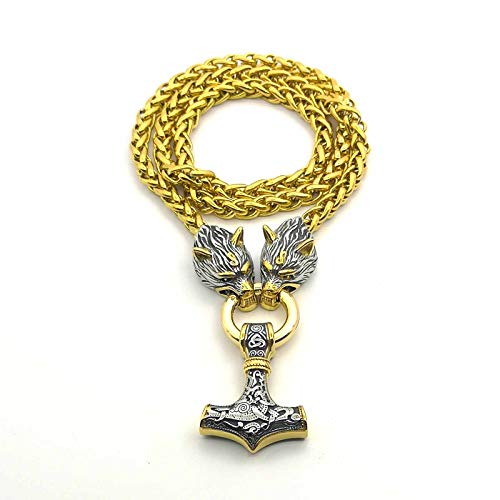 Wolfskopf-Kielkette Edelstahl Nordic Viking Amulett Thors Hammeranhänger-Halskette,60cm